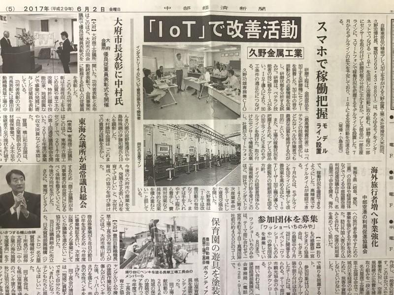 中部経済新聞に「IoTで改善活動」で掲載されました