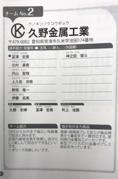 第69回全日本実業団バドミントン大会にチーム久野金属工業が出場します